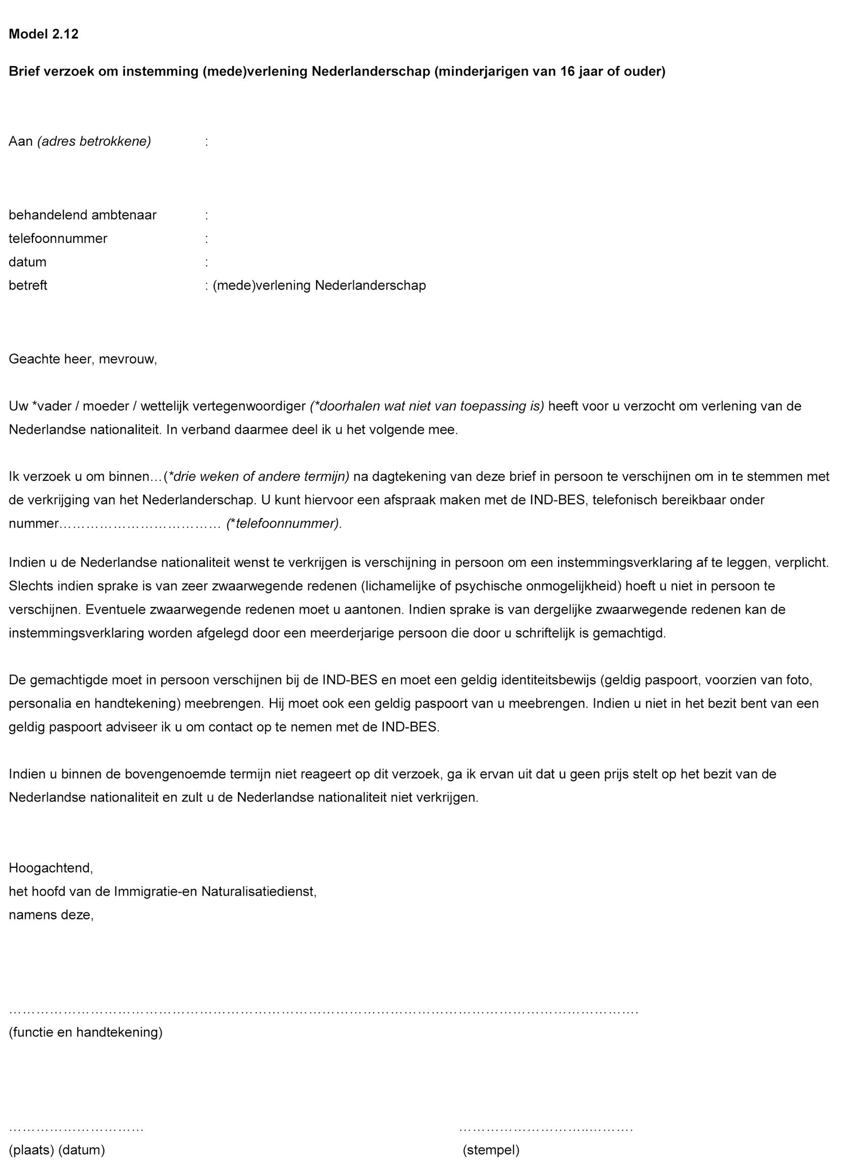 voorbeeldbrief naamswijziging Handleiding voor de toepassing van de Rijkswet op het  voorbeeldbrief naamswijziging