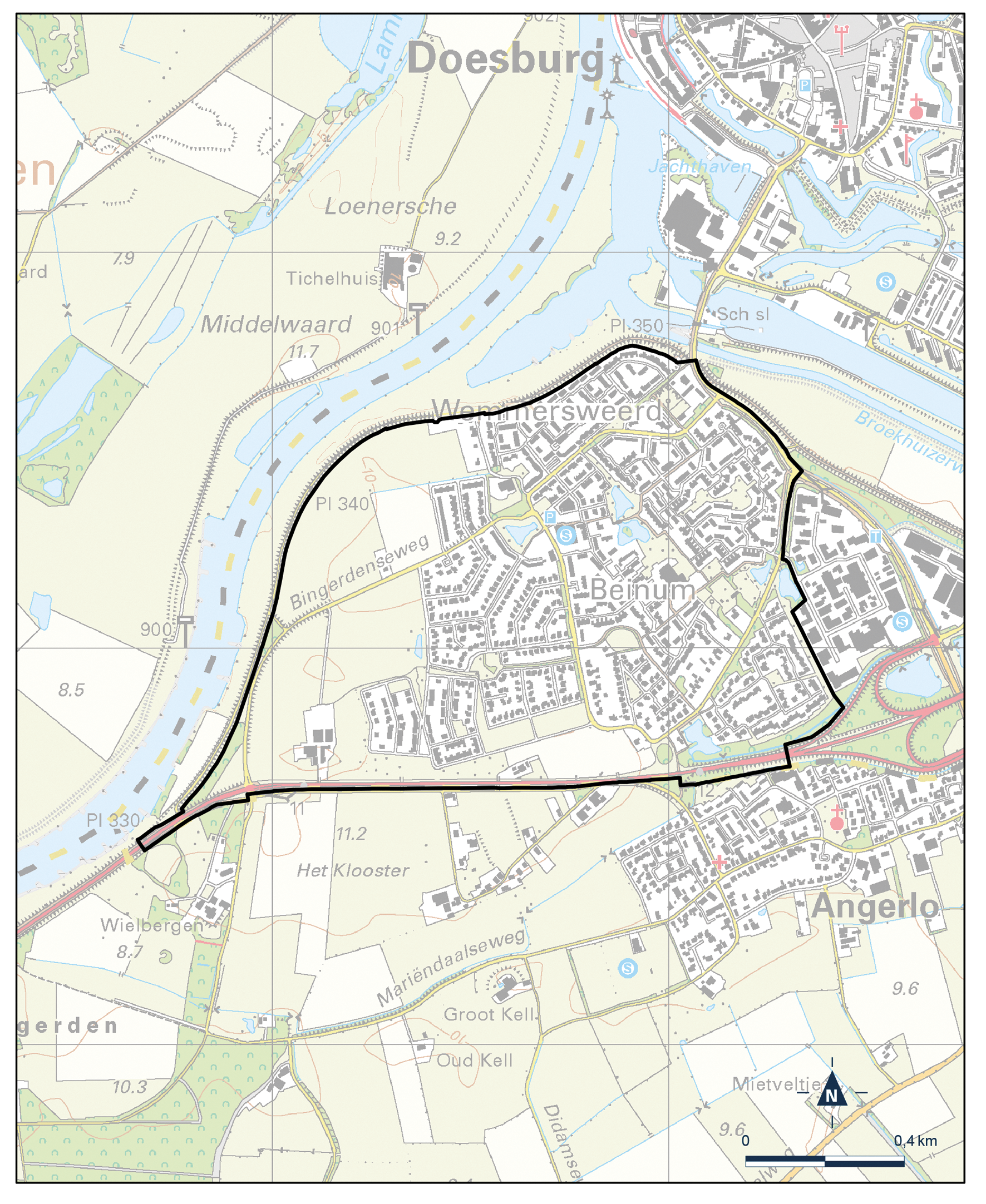 Kaart Doesburg, Beinum